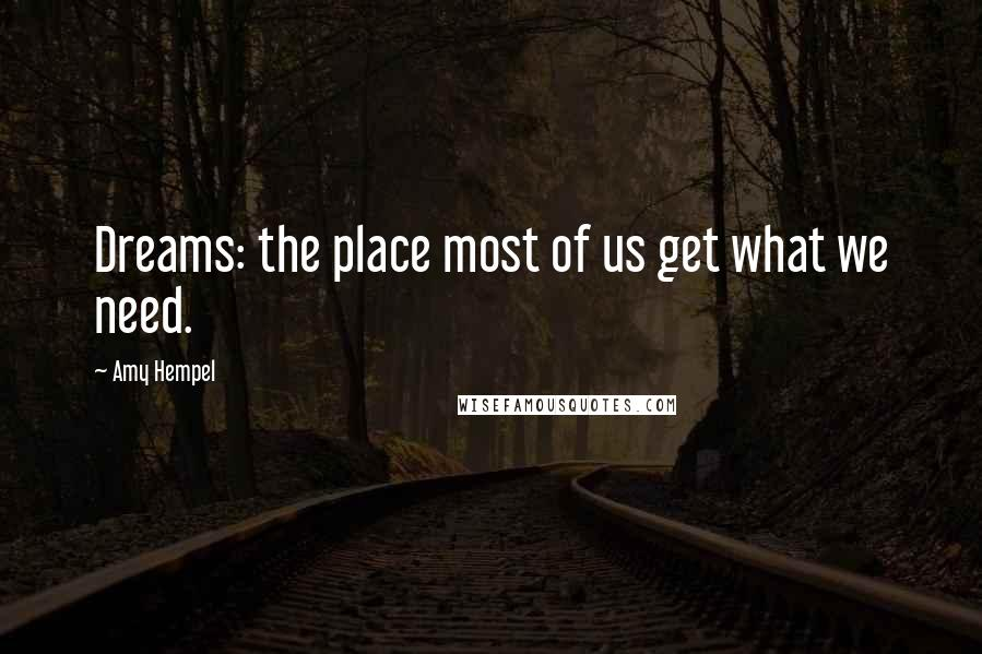 Amy Hempel quotes: Dreams: the place most of us get what we need.