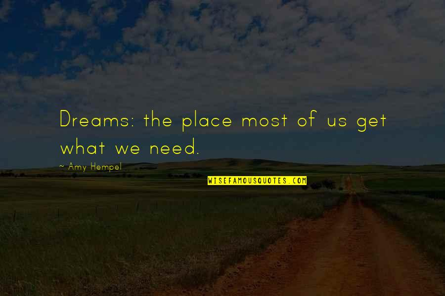 Amy Hempel Quotes By Amy Hempel: Dreams: the place most of us get what