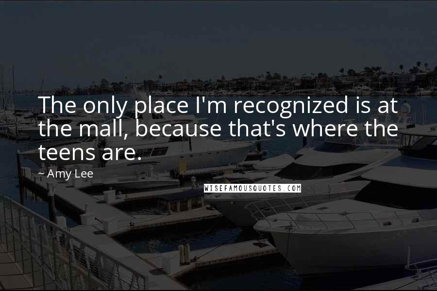 Amy Lee quotes: The only place I'm recognized is at the mall, because that's where the teens are.