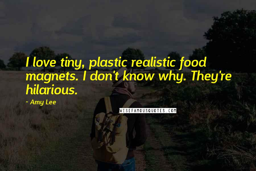 Amy Lee quotes: I love tiny, plastic realistic food magnets. I don't know why. They're hilarious.