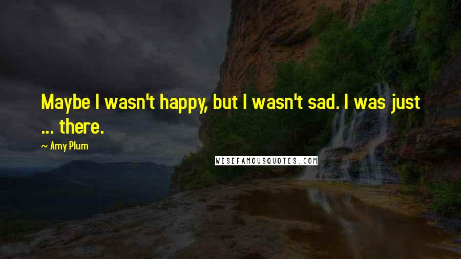 Amy Plum quotes: Maybe I wasn't happy, but I wasn't sad. I was just ... there.