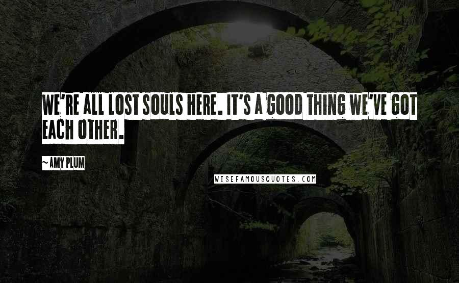 Amy Plum quotes: We're all lost souls here. It's a good thing we've got each other.