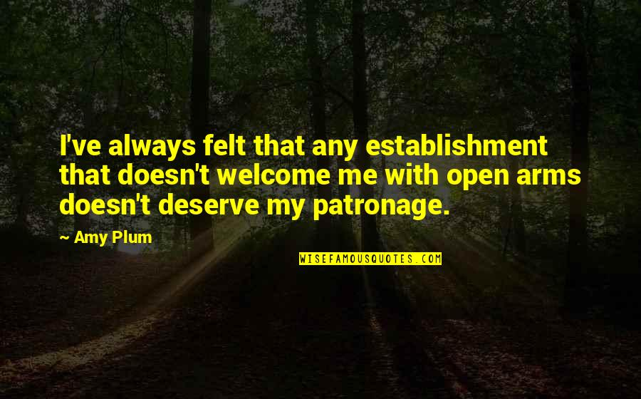 Amy Plum Quotes By Amy Plum: I've always felt that any establishment that doesn't