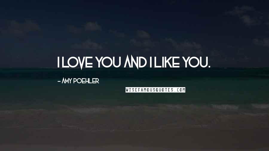 Amy Poehler quotes: I love you and I like you.