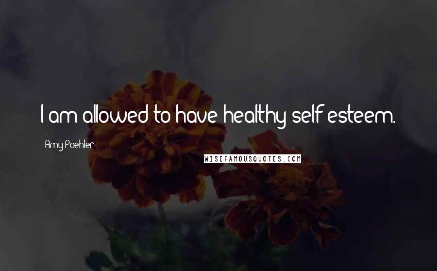 Amy Poehler quotes: I am allowed to have healthy self-esteem.
