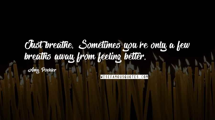 Amy Poehler quotes: Just breathe. Sometimes you're only a few breaths away from feeling better.
