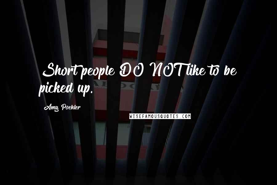 Amy Poehler quotes: Short people DO NOT like to be picked up.