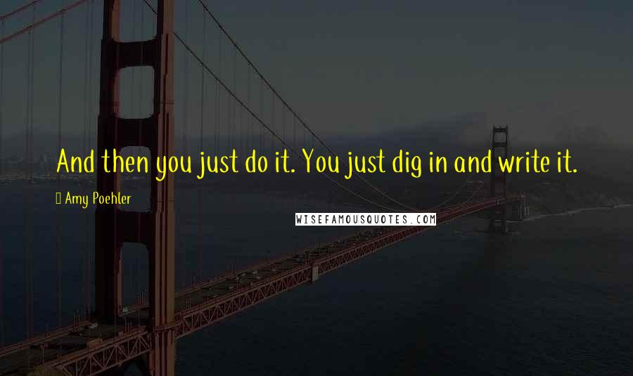 Amy Poehler quotes: And then you just do it. You just dig in and write it.