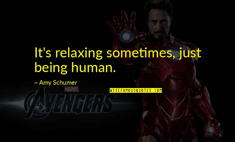 Amy Schumer Quotes By Amy Schumer: It's relaxing sometimes, just being human.