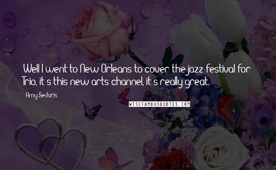 Amy Sedaris quotes: Well I went to New Orleans to cover the jazz festival for Trio, it's this new arts channel, it's really great.
