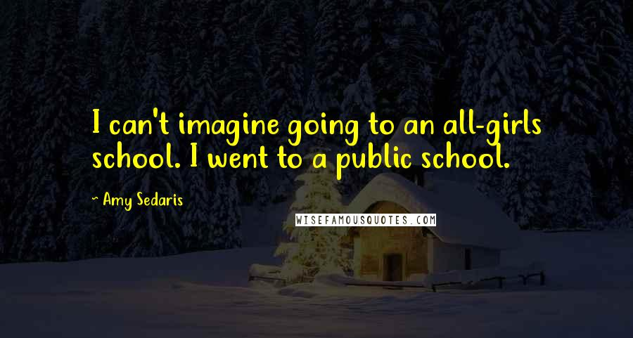 Amy Sedaris quotes: I can't imagine going to an all-girls school. I went to a public school.