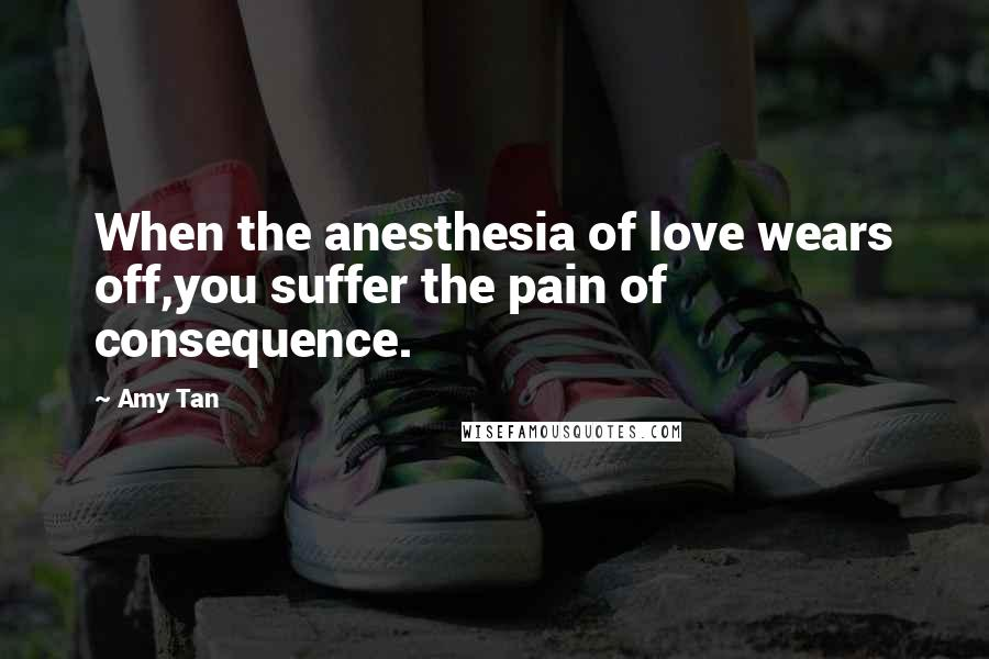 Amy Tan quotes: When the anesthesia of love wears off,you suffer the pain of consequence.