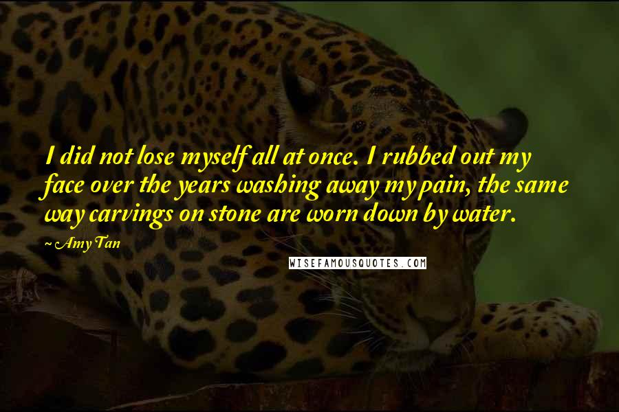 Amy Tan quotes: I did not lose myself all at once. I rubbed out my face over the years washing away my pain, the same way carvings on stone are worn down by
