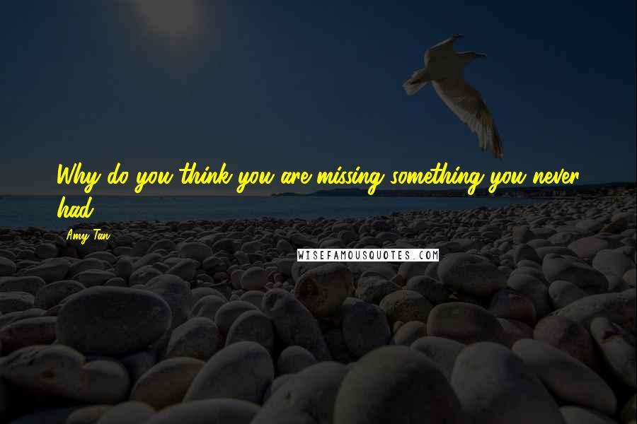 Amy Tan quotes: Why do you think you are missing something you never had?