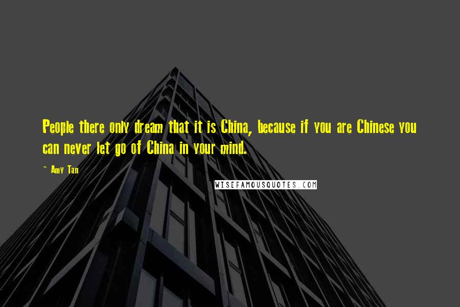 Amy Tan quotes: People there only dream that it is China, because if you are Chinese you can never let go of China in your mind.