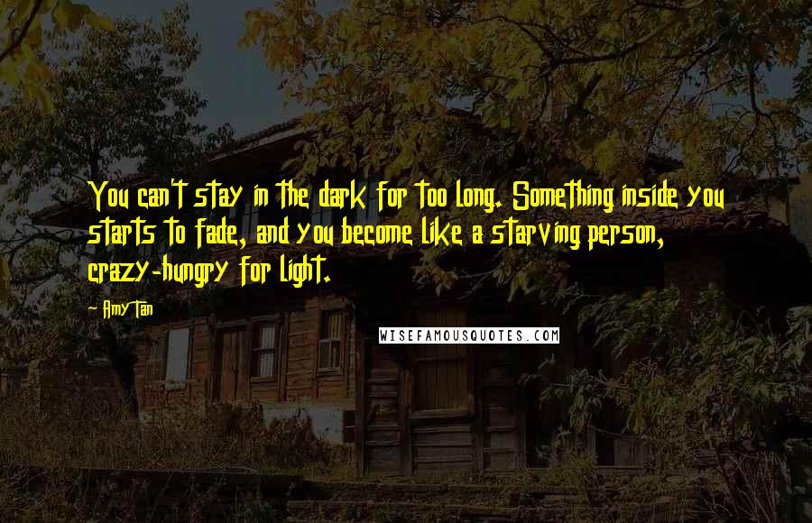 Amy Tan quotes: You can't stay in the dark for too long. Something inside you starts to fade, and you become like a starving person, crazy-hungry for light.