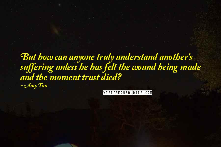 Amy Tan quotes: But how can anyone truly understand another's suffering unless he has felt the wound being made and the moment trust died?