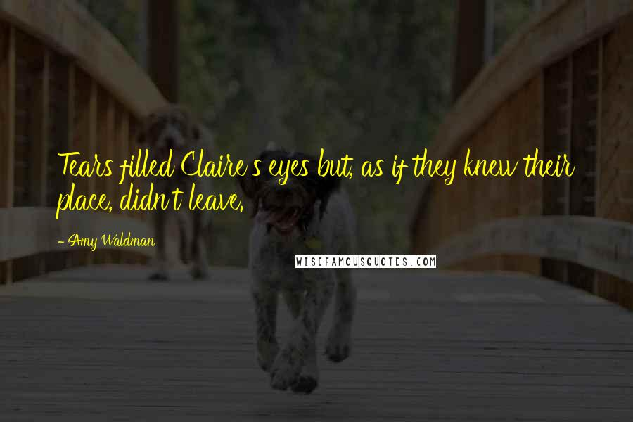 Amy Waldman quotes: Tears filled Claire's eyes but, as if they knew their place, didn't leave.