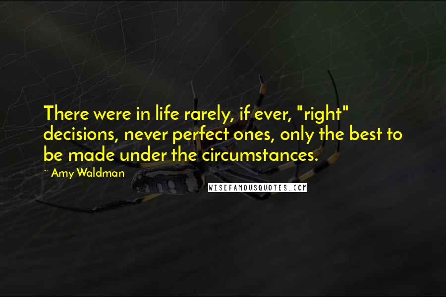 "Amy Waldman quotes: There were in life rarely, if ever, ""right"" decisions, never perfect ones, only the best to be made under the circumstances."