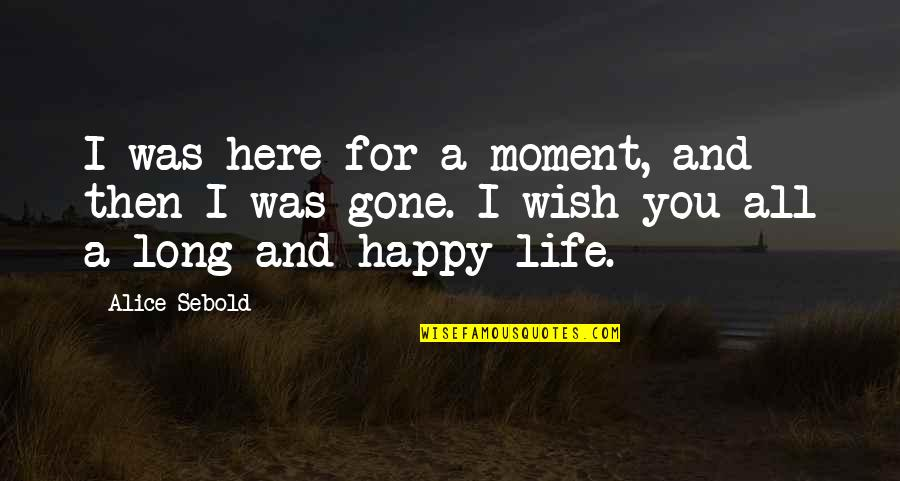 Amy Yamada Quotes By Alice Sebold: I was here for a moment, and then