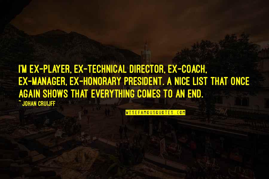 An Ex Quotes By Johan Cruijff: I'm ex-player, ex-technical director, ex-coach, ex-manager, ex-honorary president.