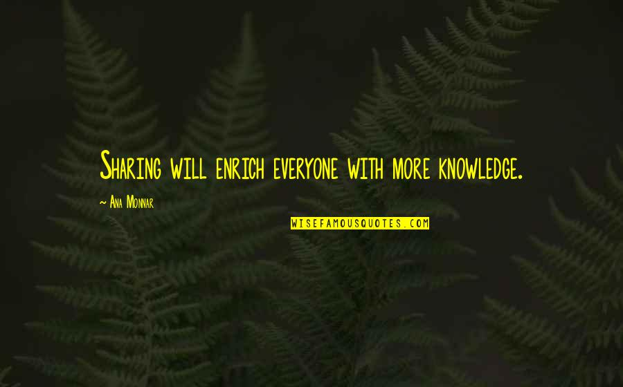 Ana Monnar Quotes By Ana Monnar: Sharing will enrich everyone with more knowledge.