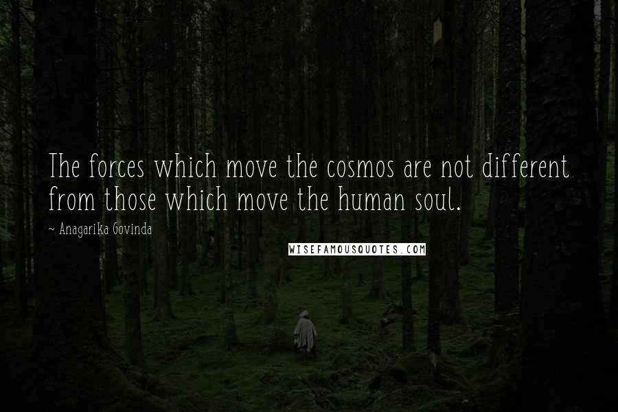 Anagarika Govinda quotes: The forces which move the cosmos are not different from those which move the human soul.