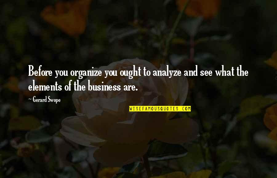 Analyze Quotes By Gerard Swope: Before you organize you ought to analyze and