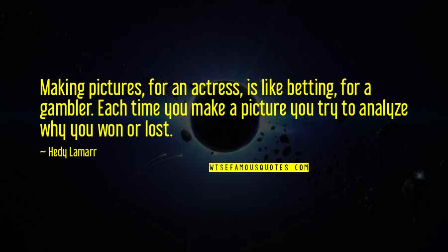 Analyze Quotes By Hedy Lamarr: Making pictures, for an actress, is like betting,