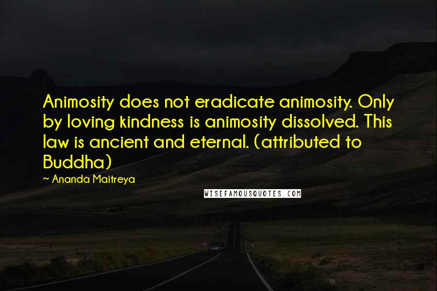 Ananda Maitreya quotes: Animosity does not eradicate animosity. Only by loving kindness is animosity dissolved. This law is ancient and eternal. (attributed to Buddha)
