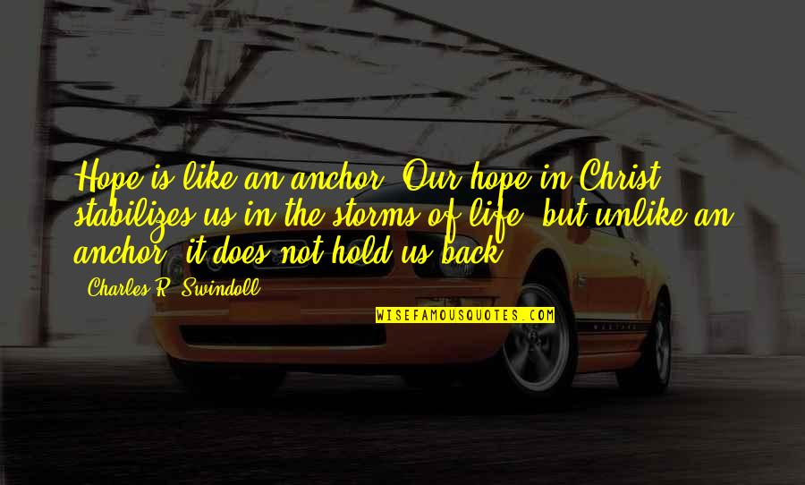 Anchors Quotes By Charles R. Swindoll: Hope is like an anchor. Our hope in