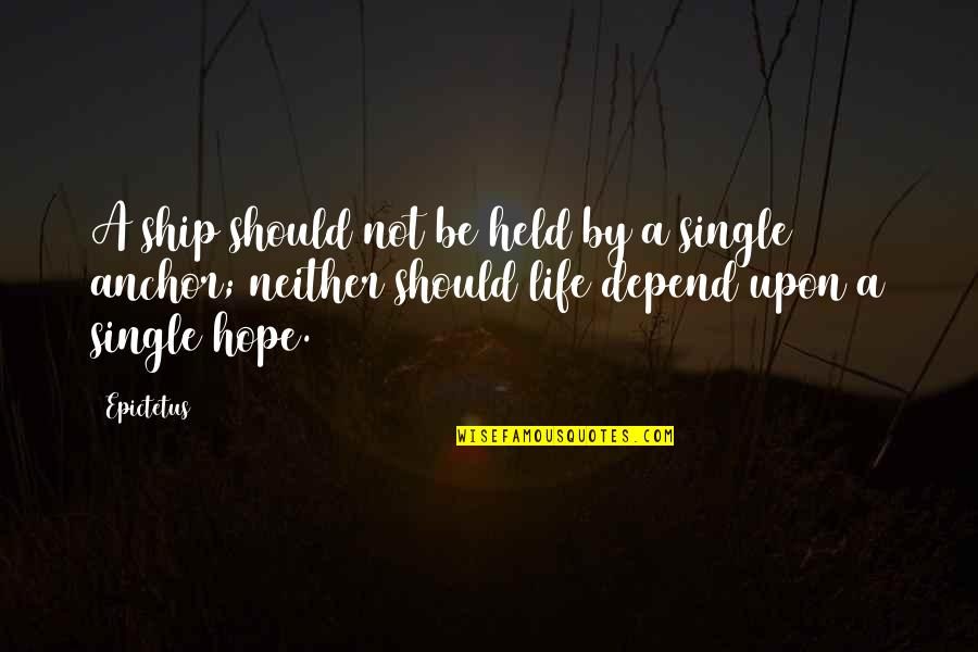 Anchors Quotes By Epictetus: A ship should not be held by a