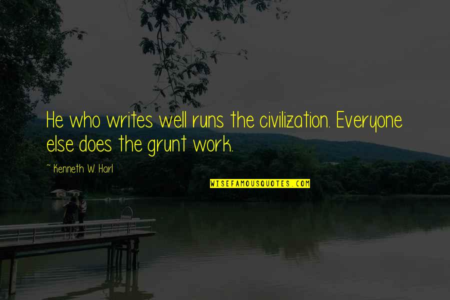Ancient History Quotes By Kenneth W. Harl: He who writes well runs the civilization. Everyone