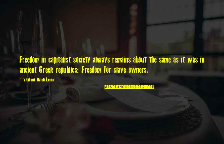 Ancient History Quotes By Vladimir Ilyich Lenin: Freedom in capitalist society always remains about the