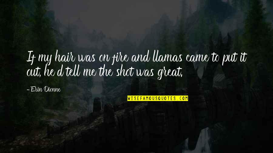 And Funny Quotes By Erin Dionne: If my hair was on fire and llamas