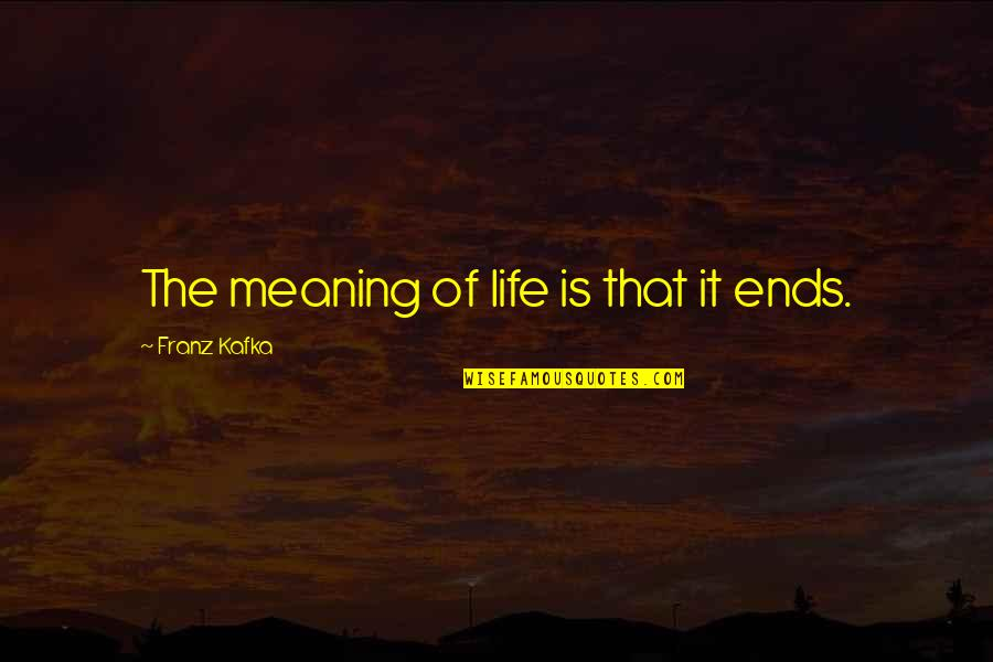 And So It Ends Quotes By Franz Kafka: The meaning of life is that it ends.