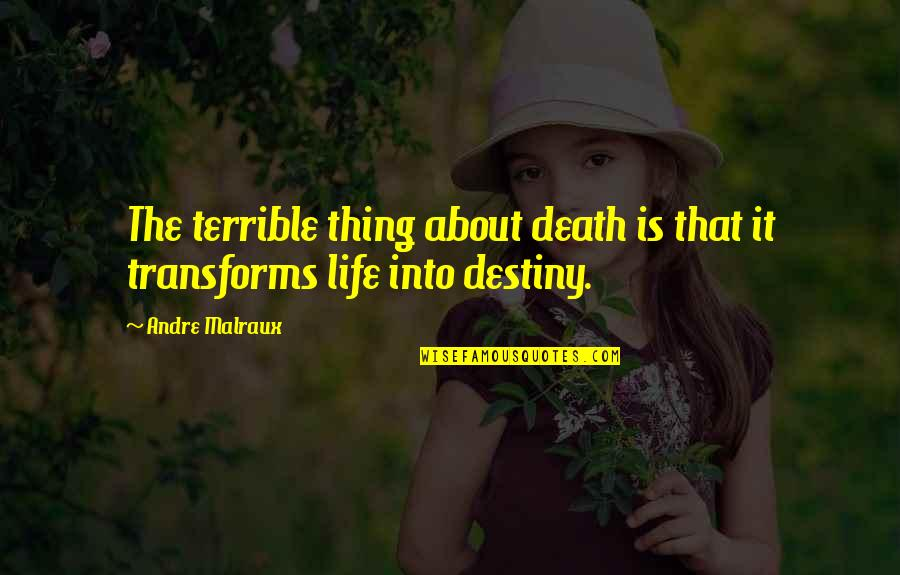 Anders Sein Quotes By Andre Malraux: The terrible thing about death is that it
