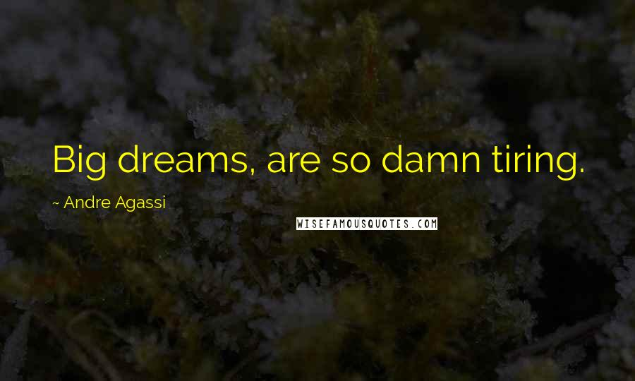 Andre Agassi quotes: Big dreams, are so damn tiring.