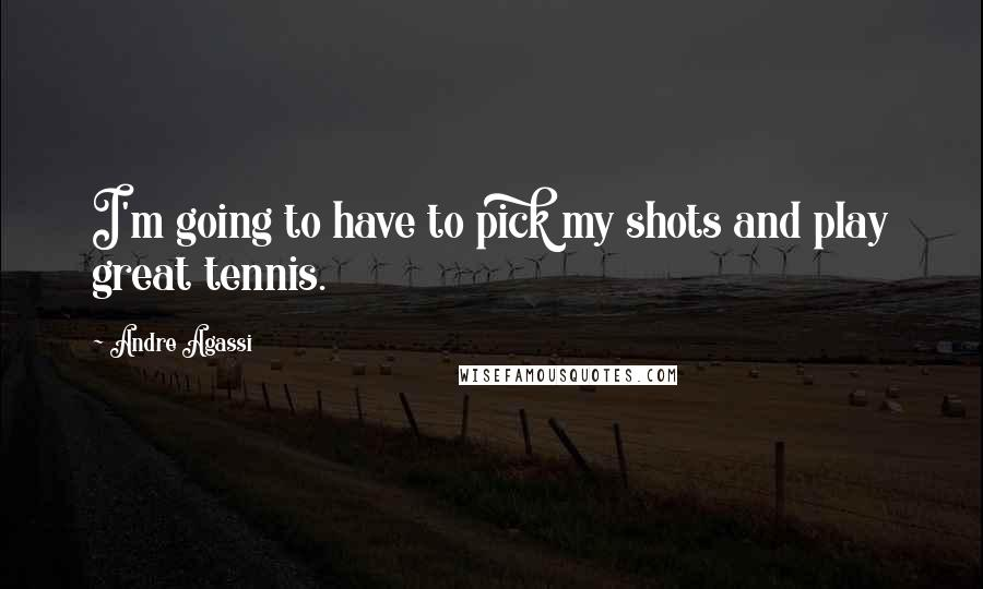 Andre Agassi quotes: I'm going to have to pick my shots and play great tennis.