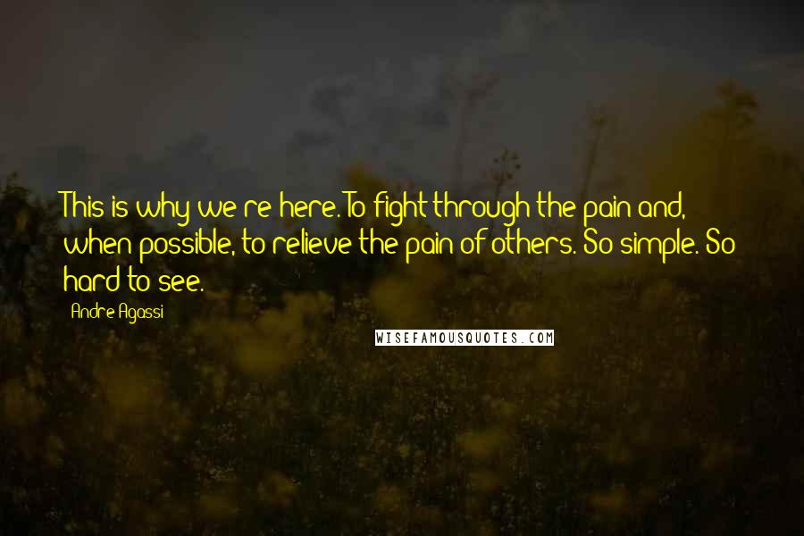 Andre Agassi quotes: This is why we're here. To fight through the pain and, when possible, to relieve the pain of others. So simple. So hard to see.