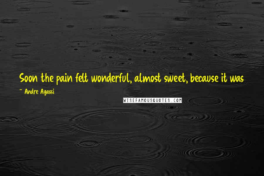 Andre Agassi quotes: Soon the pain felt wonderful, almost sweet, because it was the kind that you can tell precedes relief. But maybe all pain is like that.
