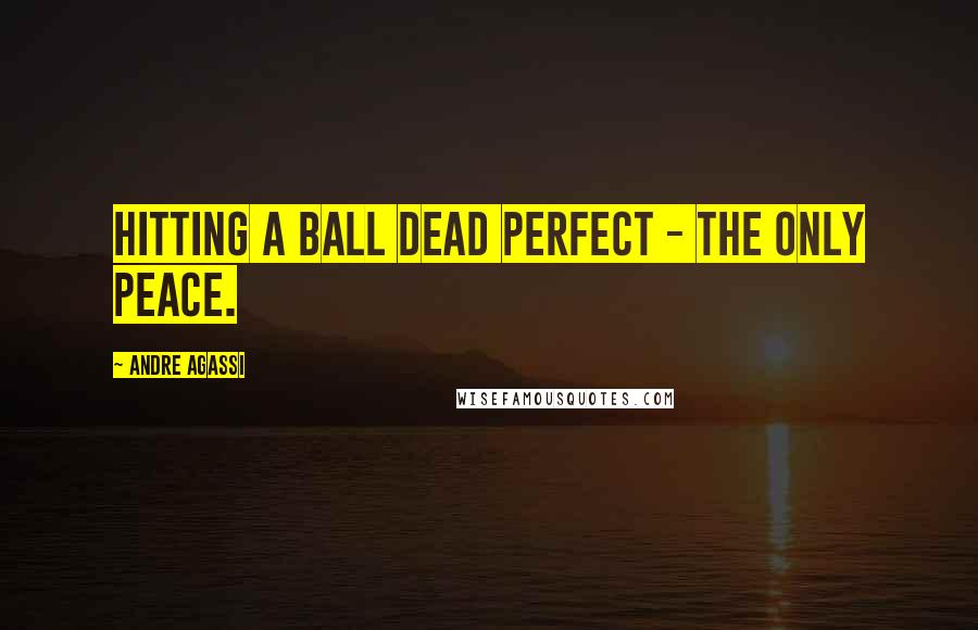 Andre Agassi quotes: Hitting a ball dead perfect - the only peace.