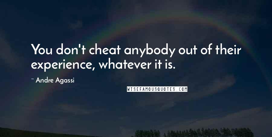 Andre Agassi quotes: You don't cheat anybody out of their experience, whatever it is.