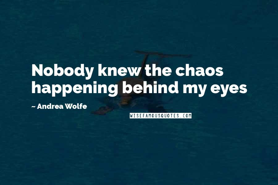Andrea Wolfe quotes: Nobody knew the chaos happening behind my eyes