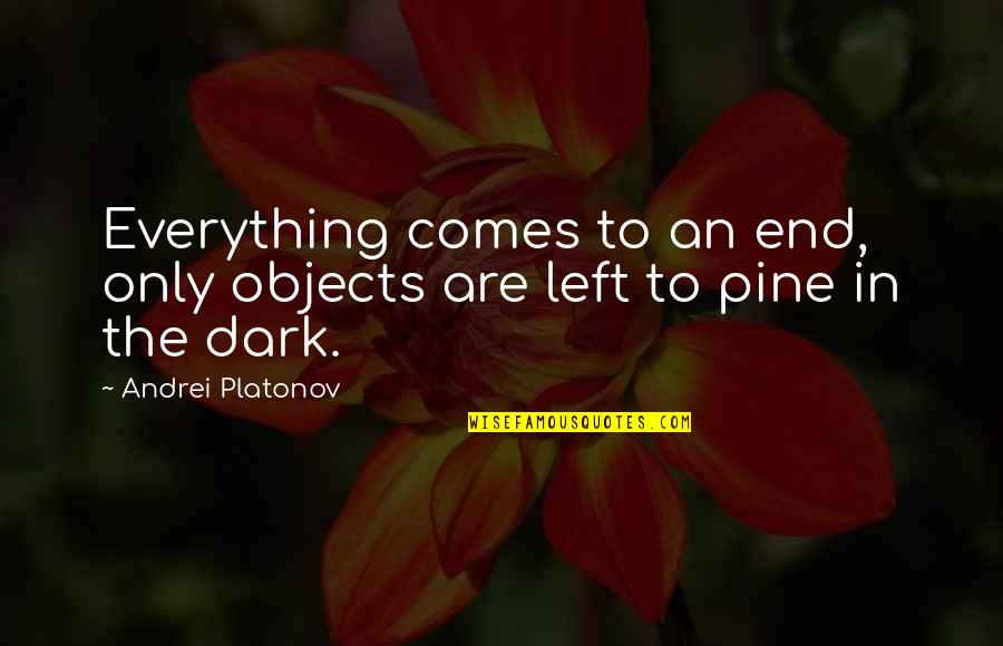 Andrei Platonov Quotes By Andrei Platonov: Everything comes to an end, only objects are