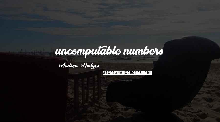 Andrew Hodges quotes: uncomputable numbers