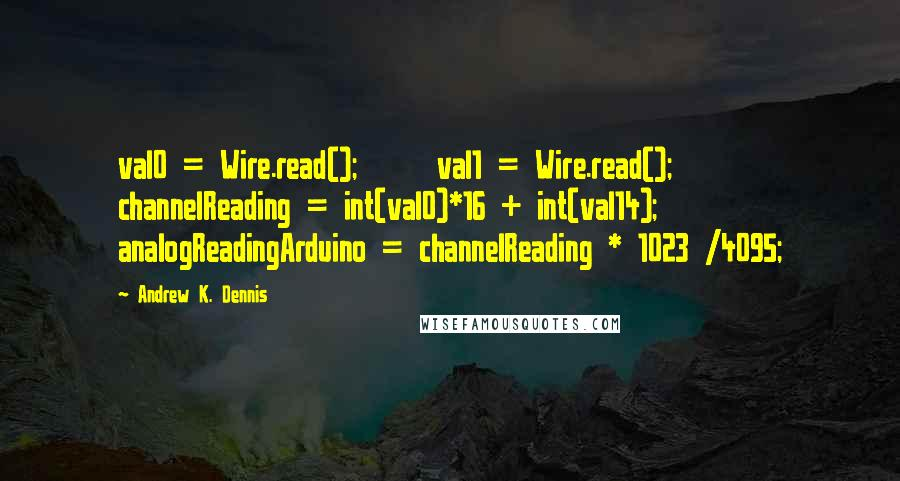 Andrew K. Dennis quotes: val0 = Wire.read(); val1 = Wire.read(); channelReading = int(val0)*16 + int(val14); analogReadingArduino = channelReading * 1023 /4095;