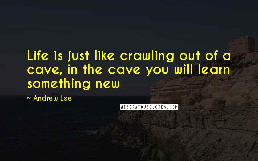 Andrew Lee quotes: Life is just like crawling out of a cave, in the cave you will learn something new