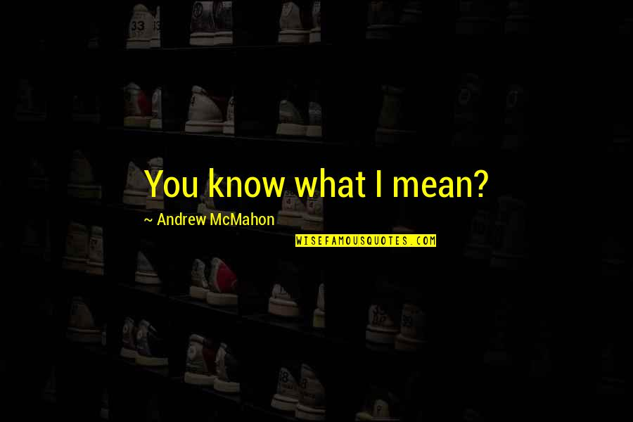 Andrew Mcmahon Quotes By Andrew McMahon: You know what I mean?