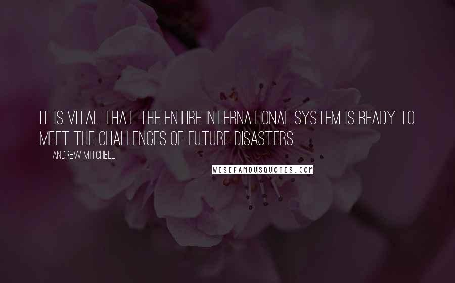 Andrew Mitchell quotes: It is vital that the entire international system is ready to meet the challenges of future disasters.